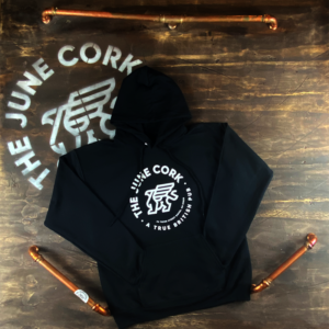 Black Hoodie - Front of the white June Cork Pub hoodie