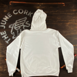 White Hoodie - Back of the white June Cork Pub hoodie