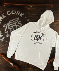 White Hoodie - Front of the white June Cork Pub hoodie