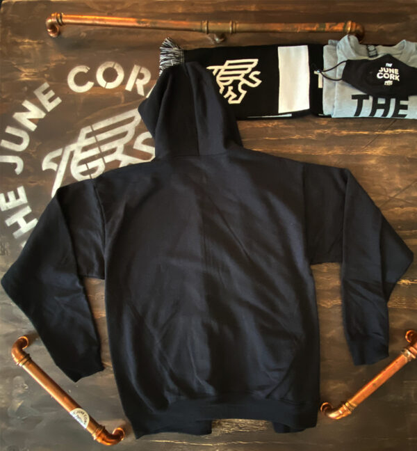 Black Unisex Full zip-up hoodie with a small June Cork Pub logo on the left chest Back View