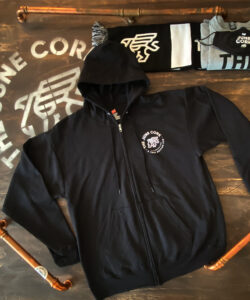 Black Unisex Full zip-up hoodie with a small June Cork Pub logo on the left chest