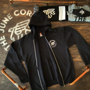 Black Unisex Full zip-up hoodie with a small June Cork Pub logo on the left chest Open View